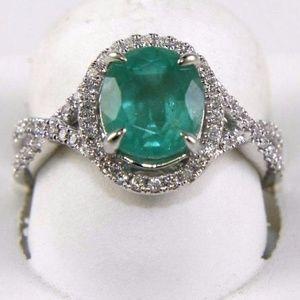 Oval Emerald & Diamond Infinity Ring 14k WG 2.81Ct